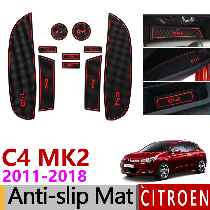 Anti-Slip Gate Slot Mat Rubber Cup Mats for <font><b>Citroen</b></font> <font><b>C4</b></font> <font><b>2011</b></font> 2012 2013 2014 2015 2016 2017 2018 MK2 C4L Accessories Car Stickers image