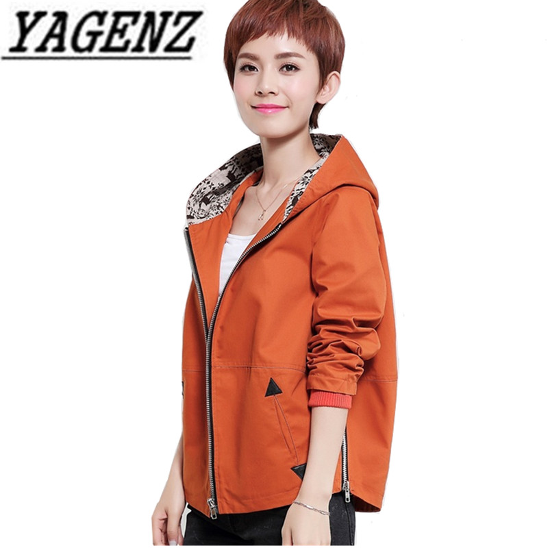2018 New Spring Women's Hooded Windbreaker Short Coats Fashion Casual Loose Large-size Long-sleeved Lady Thin   Trench   Coat M-4XL