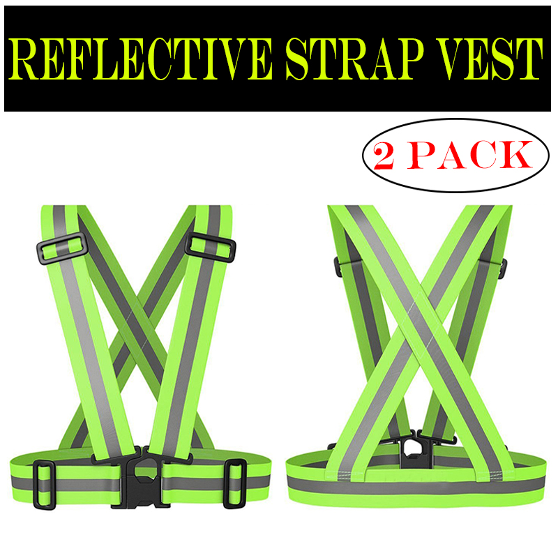 Pack of 2 Pieces Safety High Visibility Reflective Vest Lightweight Adjustable Elastic Running Jogging Walking