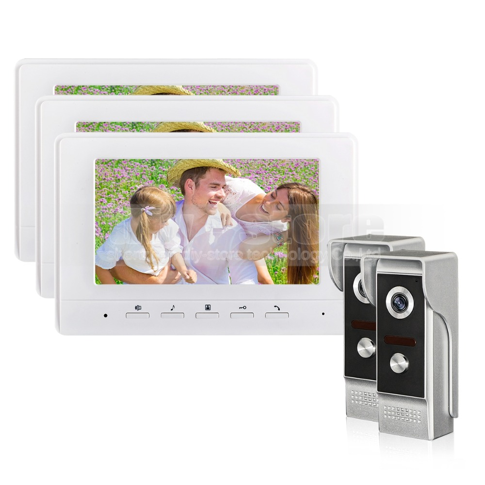 DIYSECUR 7inch Video Intercom Video Door Phone 700TV Line IR Night Vision Outdoor Camera for Home / Office Security System 2V3