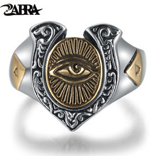 ZABRA 925 Silver Gold Color Punk Men Ring Eye of Horus Luxury Cool Biker Vintage Women Rings Adjustable Sterling Silver Jewelry(China)