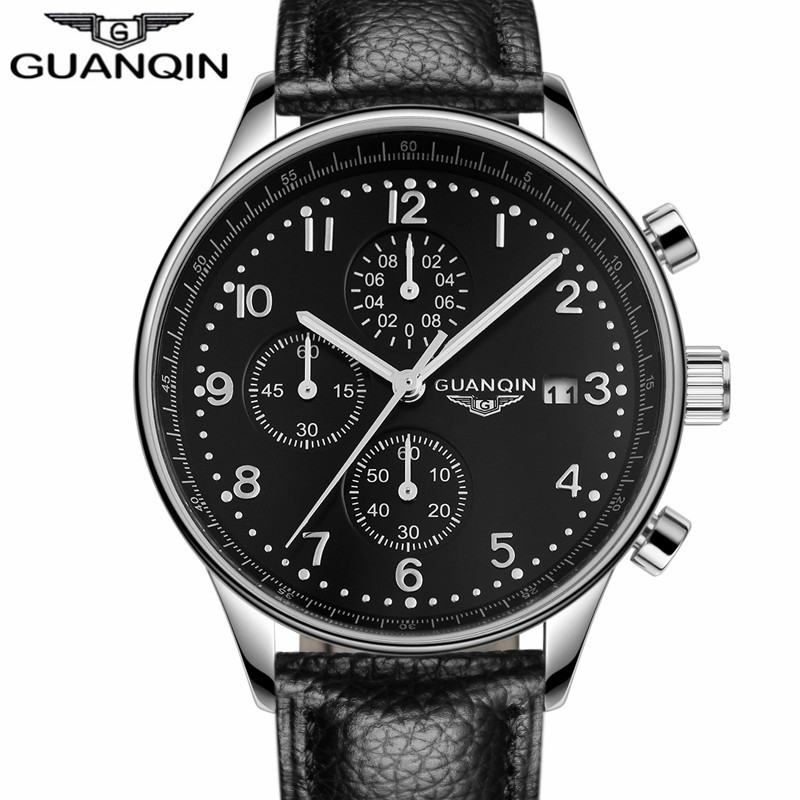 GUANQIN Mens Watches Top Brand Luxury  Military Sport Luminous Wristwatch Chronograph Leather Quartz Watch relogio masculino mens watches top brand luxury jedir quartz watch chronograph luminous clock men military sport wristwatch relogio masculino