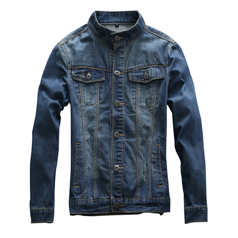 Idopy Mens Casual Denim Jacket Slim Jeans Jacket Biker Vintage Fashion Stand Collar Motorcycle Jean Bomber Jacket For Men