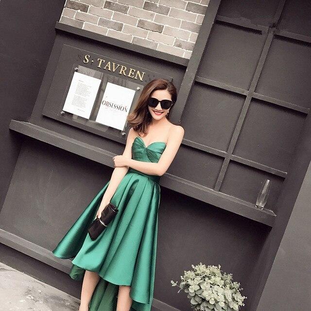 d01e9176ea91 In Magazzino Taffettà Asimmetrico Smeraldo Verde Vestiti Da Partito del Vestito  Da Sera Sweetheart Senza Maniche