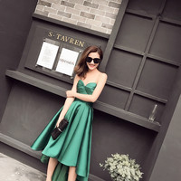 In Stock Taffeta Asymmetrical Emerald Green Party Dresses Evening Dress Sweetheart Sleeveless Robe De Cocktail Mi Longue 0103B