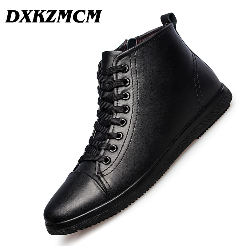 DXKZMCM Genuine Leather Men Boots Autumn Winter Ankle Boots Fashion Footwear Lace Up Shoes Men Shoes autumn winter men shoes vintage design fashion genuine leather ankle boots