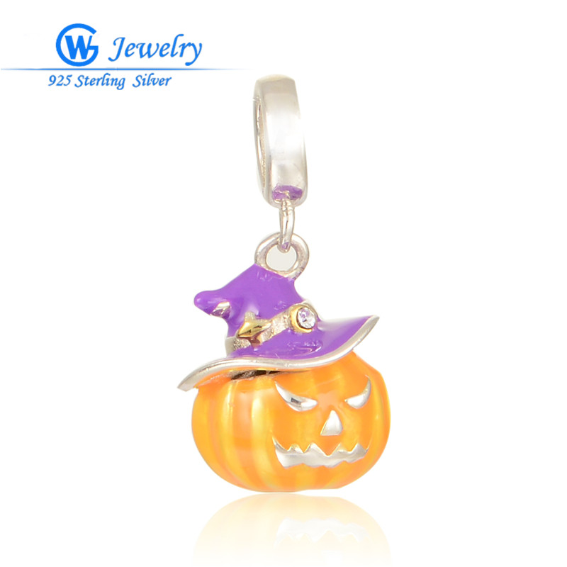 Halloween Jewelry Pumpkin Pendants 925 Silver Charms Pendants Fits For Bracelets &Necklace Free Shipping GW  Jewelry S277H20