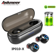 ASKMEER Mini TWS Earbuds Bluetooth V5.0 Headset True Wireless Earphones 3D Stereo Sound with Mic Noise Cancelling Charging Box