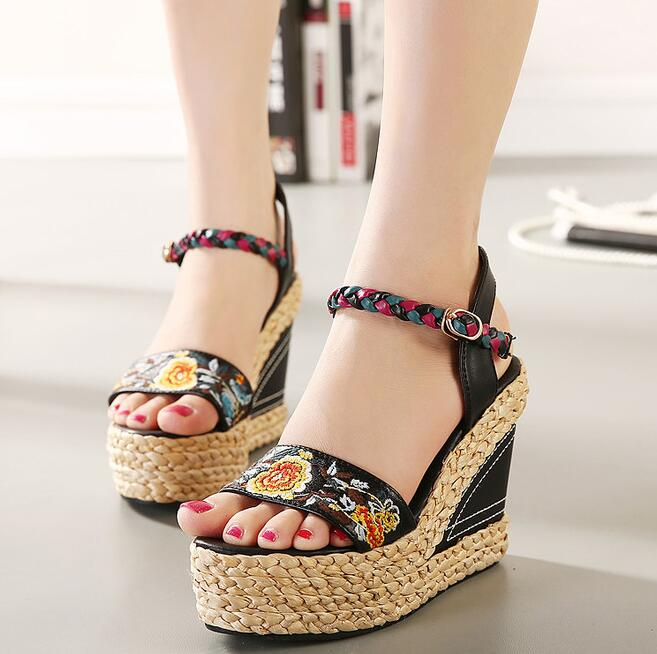 d05bd87eb19 Women 2018 Summer New Corium Knitting With Wedges High Heel Fashion Sandals  Print Ethnic Style Waterproof Taiwan Sandals