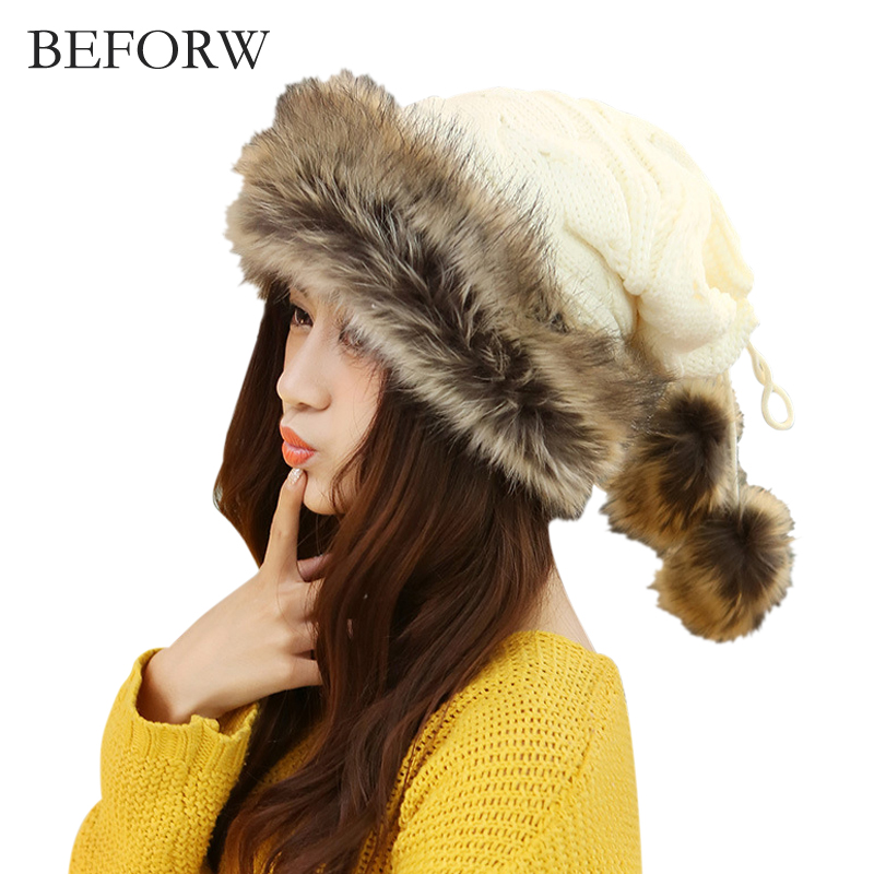BEFORW Fashion Winter Hat Ladies Beanie Wool Hat Women Fur Cap Warm Plus Velvet Dual Use Hats For Thicken Knitting Women Caps wuhaobo the new arrival of the cashmere knitting wool ladies hat winter warm fashion cap silver flower diamond women caps
