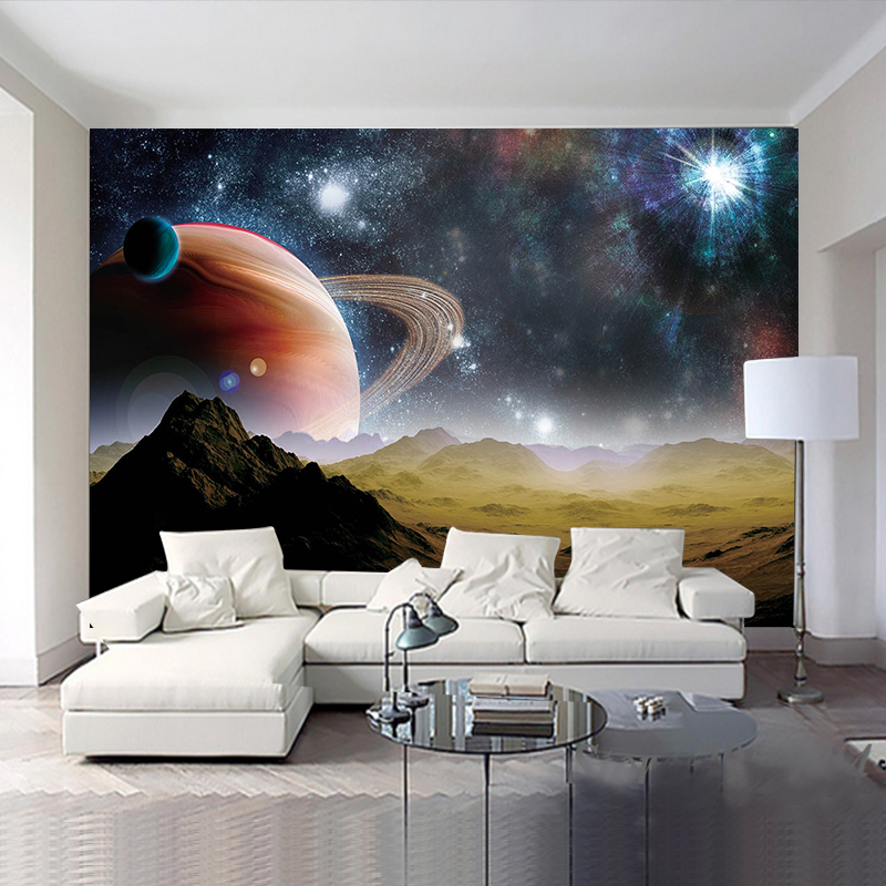 Custom 3D HD photo wall paper Star Earth 3D universe Kid's Room wallpapers Cafe KTV Backdrop Wallpaper For Walls 3D Papel Murals 3d abstract wallpapers southeast asia peacock feature murals walls photo print wallpaper 3 d wall paper papier for living room
