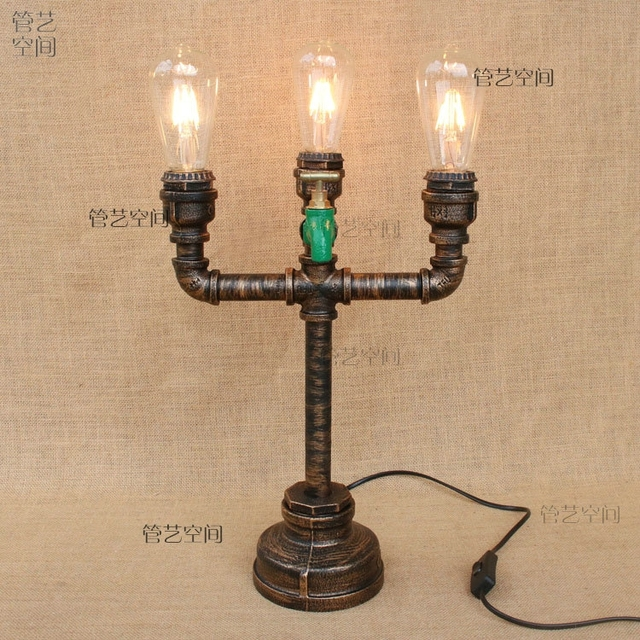 Water pipes iron pipe study table light cafe theme restaurant bedroom corridor lamp personalized fashion table