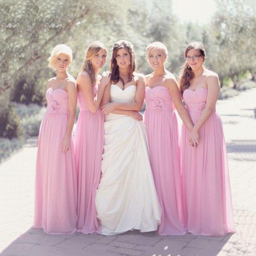 Personalizada rosa largo de gasa Vestidos dama elegante mujeres ...