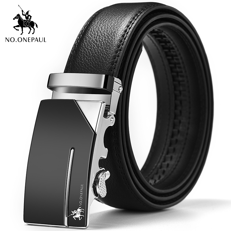 NO.ONEPAUL High-end Brand Fashion Automatic Button Midlife Bellybutton Business Black Leather Belt And Youth Leisure Simple Belt