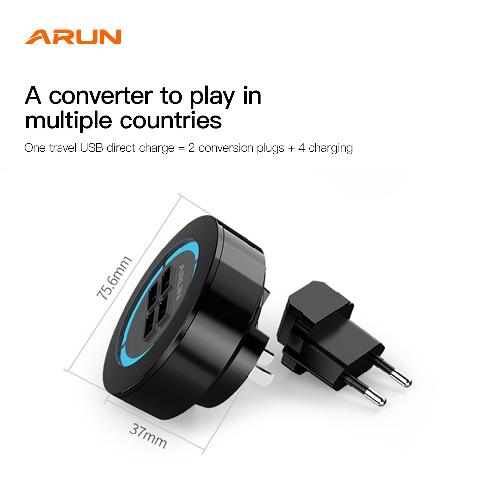 ARUN 4USB Universal Conversion Plug Power Supply US EU Standard  Power Plug Adapter Converter Travel Conversion For Home Use