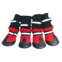 4pcs PU Waterproof Winter Pet Dog Shoes Anti Slip Snow Pet Boots Paw Protector Warm Reflective