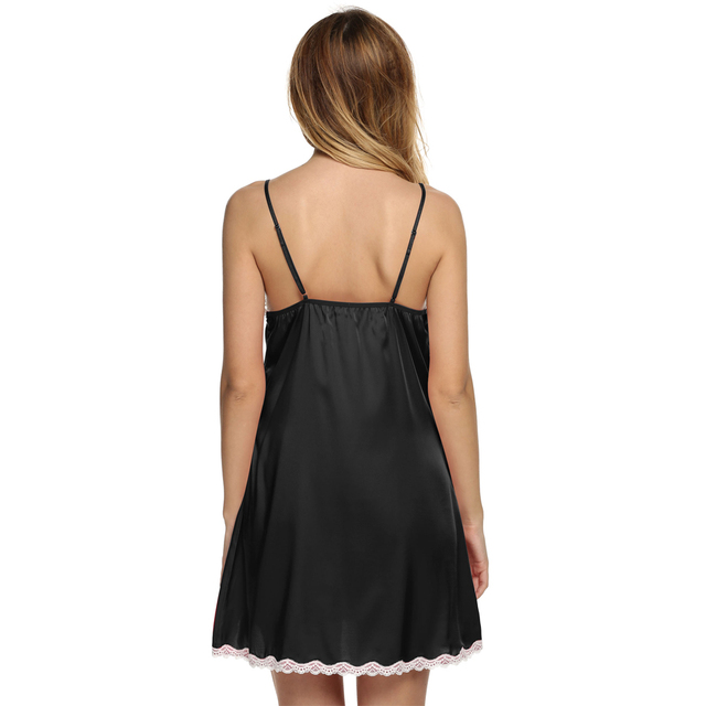 Satin Sleepwear Silk Nightgown Women Nightdress