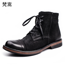 Riding boots mens retro British real leather men cowhide military autumn winter steel toe shoes cowboy