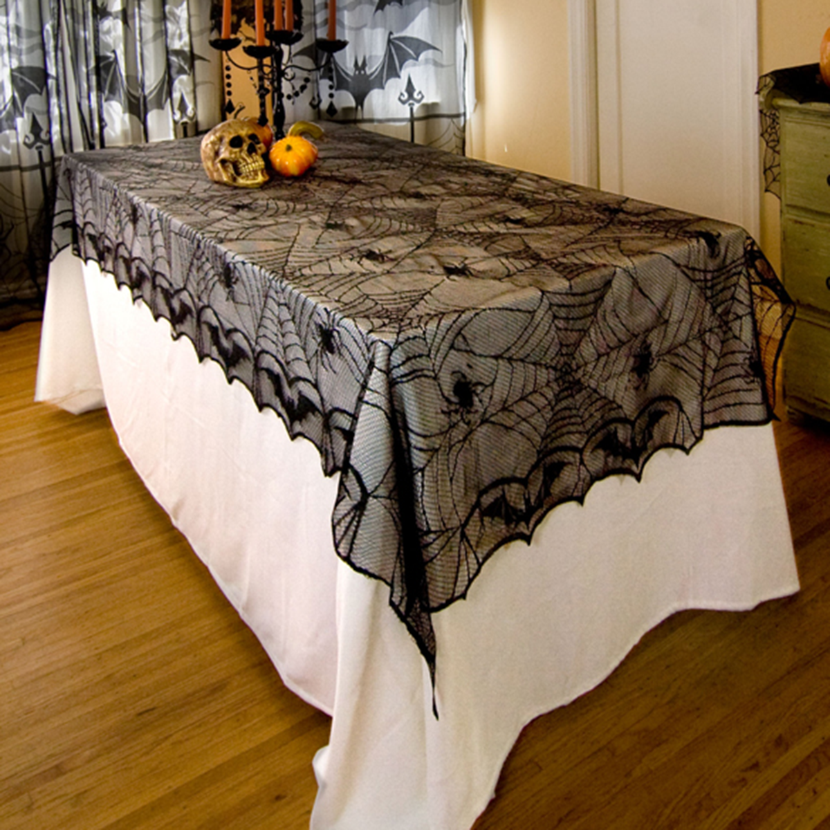 halloween rectangle black lace spider bat tablecloth tablecover halloween decoration prop horrifying spider web party tablecloth - Cheap Halloween Decor