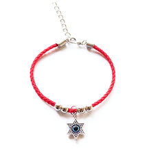 Fashion Star Of David Charm Red String Thread Rope Pentagram Bracelet For Women Girls Cross Hamsa Evil Eye Anchor Hand Jewelry(China)