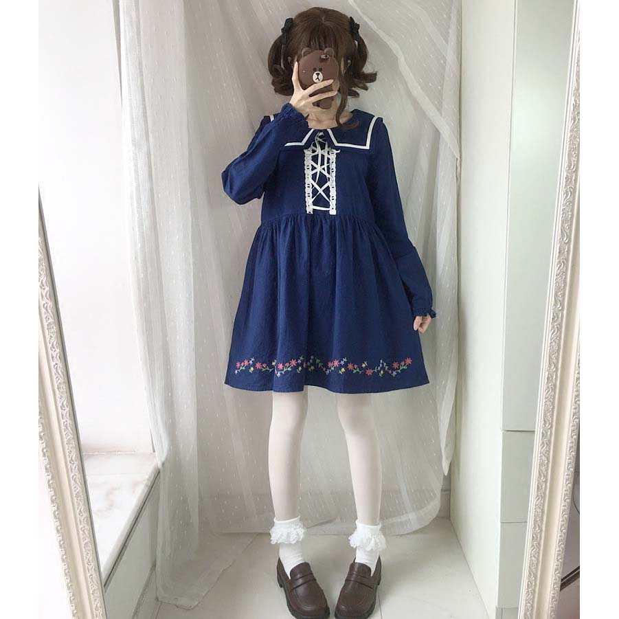 Japanese Girls Embroidery Floral Design Dresses Casual Young Women Cotton Sailor Dress Wholesaler