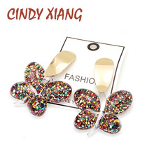CINDY XIANG Large Resin Butterfly Stud Earrings Fashion Summer Beach Style High Quality Creative Design Cute Jewelry