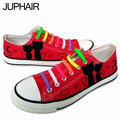 JUP Men Mans Girls Boys Foot Breathable Black Cats Hand-painted Fashion Casual Shoes Cow Muscle Lazy Shoelace Gift Red Footwear