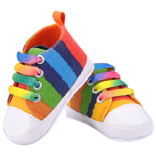 06ef3511d Baby Shoes Toddler Baby Rainbow Sneakers Moccasins Shoes For Girls Classic  Canvas Children's Shoes Soft Footwear