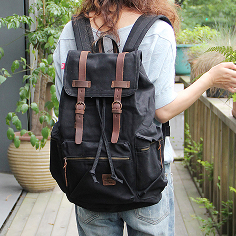 Adolescents Cordon Unisexe Portable Black Bagpack Sac Hommes Dos Voyage Toile Épaule Ordinateur Casual École À 2018 Femmes 0dOSOq