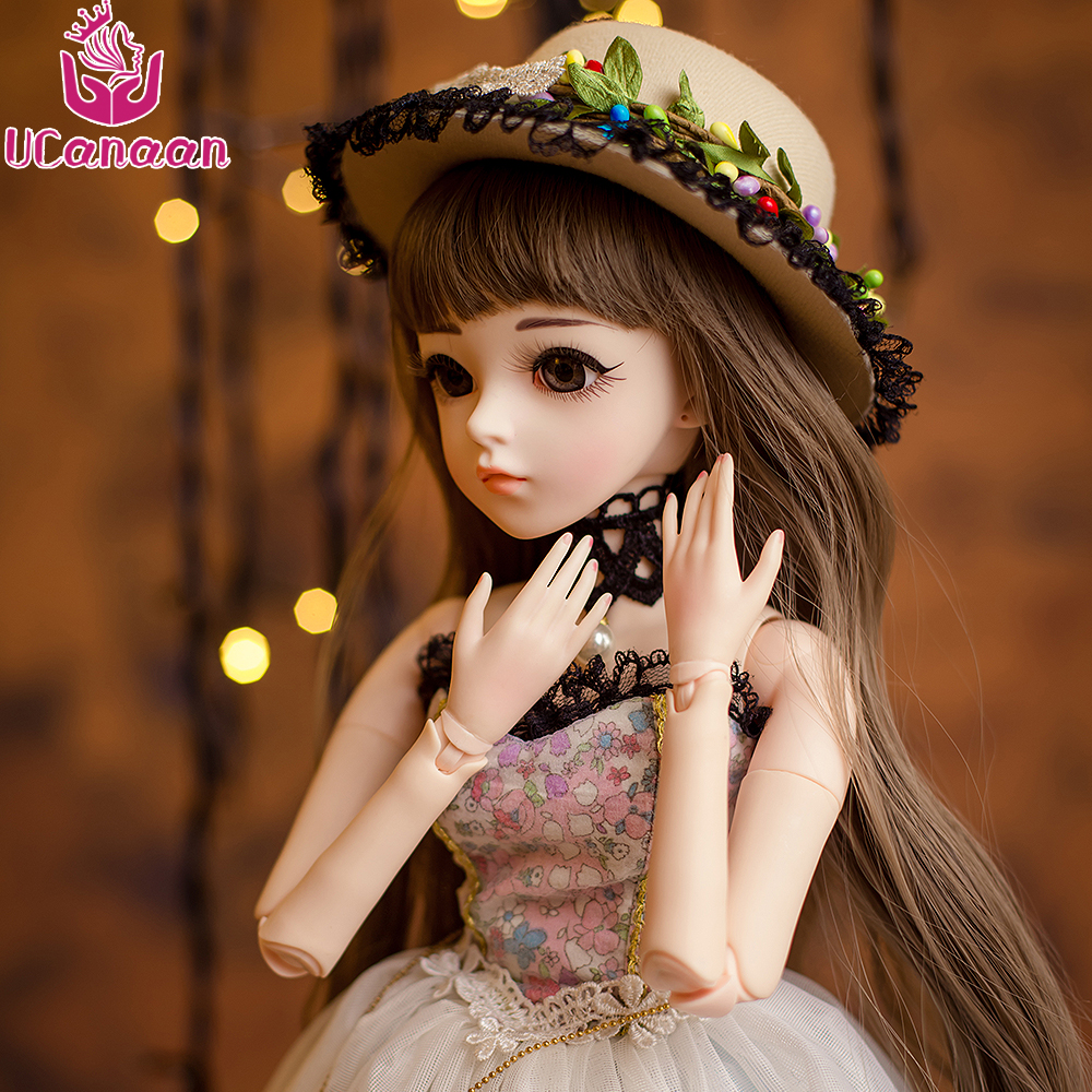 UCanaan 1 3 60CM Girl BJD Doll Beauty 18 Ball Joints SD Doll With Shoes  Wigs Dress Hat Makeup Handmade Reborn Dolls Kids Toys - imall.com 8046136fe1f2