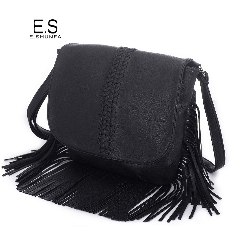 Knitted Crossbody Bags For Women 2017 Fashion Casual Small Shoulder Bag Tassel High Quality PU Leather Cross Body Bag Womens 2017 new simple mini women shoulder bag fashion chain messenger bags high quality pu leather cross body for lady small bag