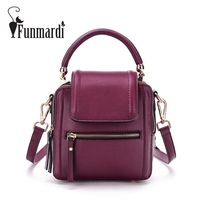 FUNMARDI Retro Double Sided PU Leather Messenger Bag Fashion Brand Design Women Leather Bag New Arrival