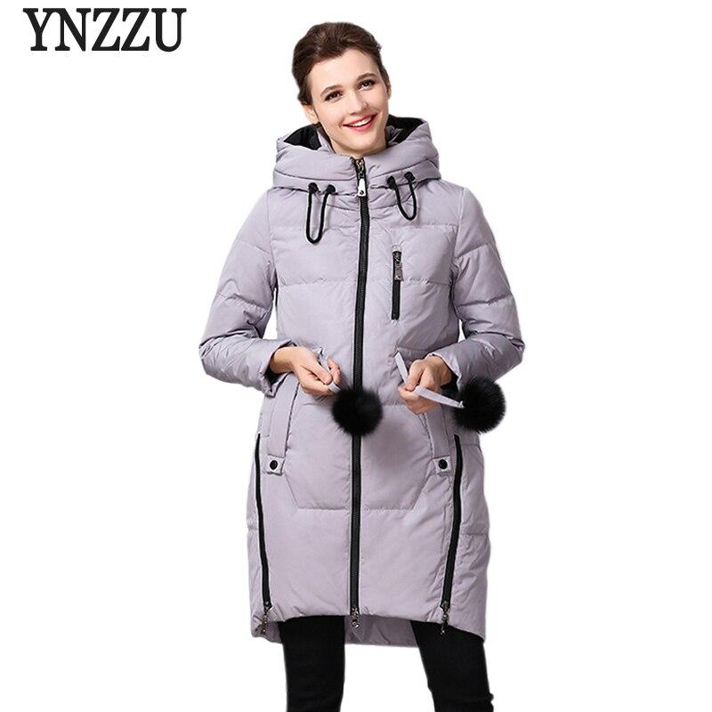 YNZZU 2018 Winter Duck Down Jacket Women Chic Zippers Thick Women Waterproof Female Down Coat Korean Style Women Parkas YO486