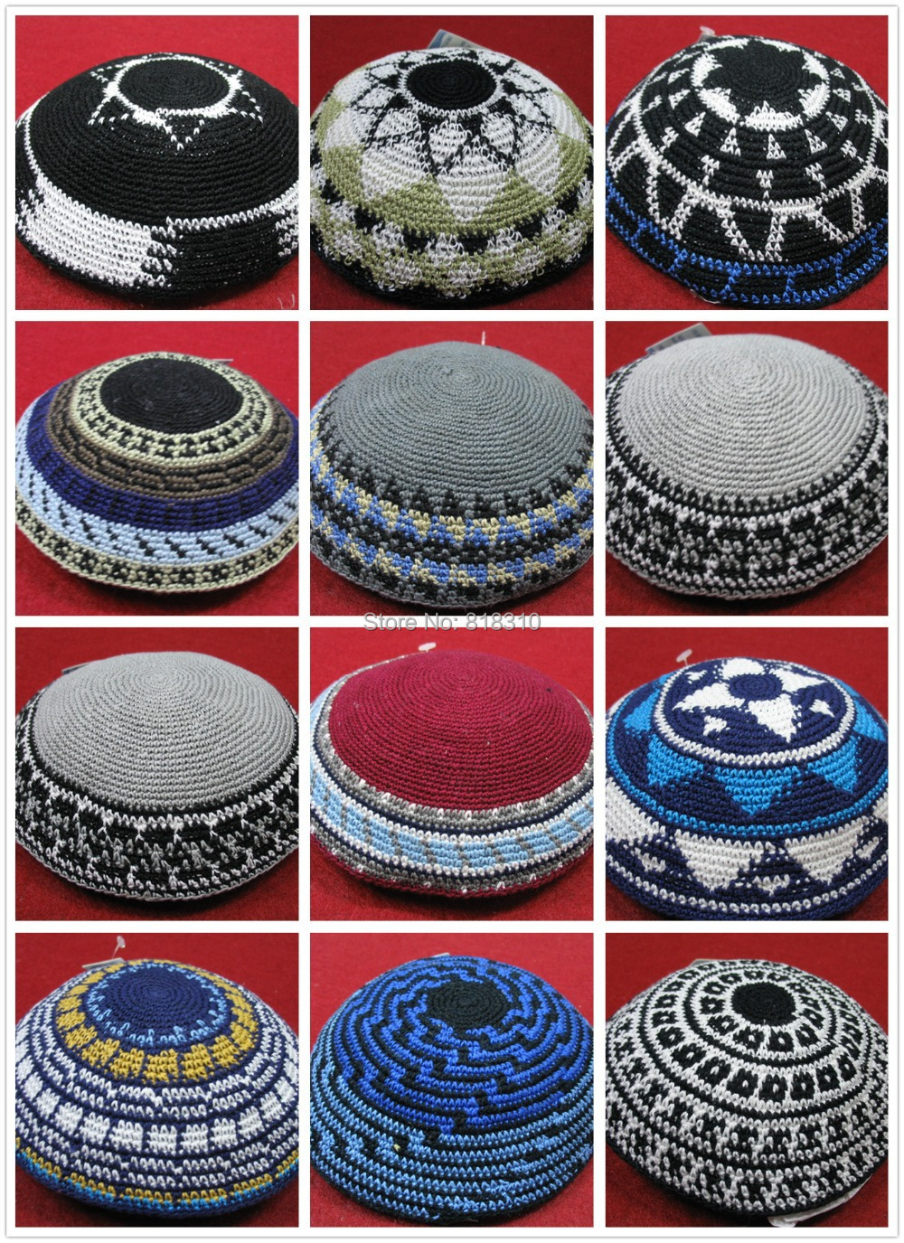 HIGH QUALITY HANDMADE KNITTED YARMULKE KIPPAH COLORED KIPPOT 3PIECES ...