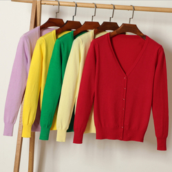Queechalle 25 Color Autumn Knitted Cardigan Coat Women's V Neck Long Sleeve Casual Sweater Coats Female Clothes S- 4XL Plus Size 5