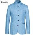 E-artist Men Blazer Slim Fit Business Casual Suits Jackets Coats Linen Overcoat Spring Autumn Blue Grey S-5XL Plus Size X02  куртка куртки мужской пиджак пальто