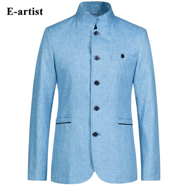E-artista Men'ss Trending Casual Slim Fit Cuello Mao Chaqueta De Lino Traje Chaquetas Abrigos Outwear Abrigos Tallas grandes 5XL X02