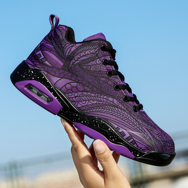 969ccf9f7e3 Mid Top Mens Basketball Shoes Big Size Outdoor Sport Shoes Designer Sneakers  Purple Red Basketball Shoes Kids Boys Gym Sneakers-in Basketball Shoes from  ...