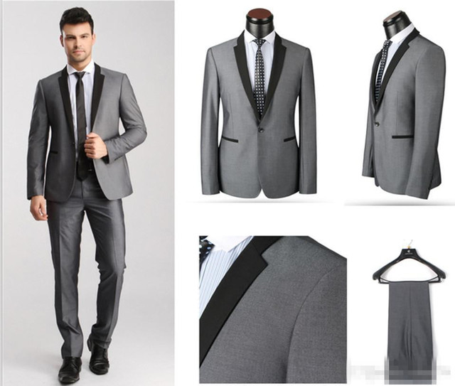 New Arrival Groom Tuxedos Black Lapel Best man Suit Light Grey ...
