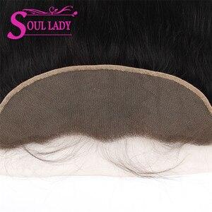 Image 4 - Soul bayan düz dantel Frontal demetleri ile % 100% insan saçı 3 demetleri ile Frontal kulak için kulak dantel Frontal kapatma demetleri ile