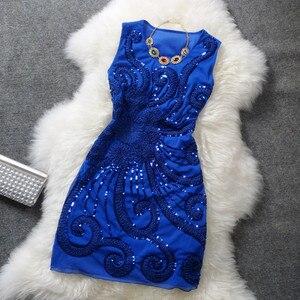 Image 1 - רקמת נצנצים פאן פרחוני סקסי למעלה בתוספת גודל שחור אדום כחול בציר מזדמן מועדון קצר זול קוקטייל שמלות המפלגה שמלות