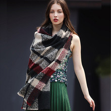 [Ode To Joy] New fashion women Plaid pashmina Winter soft Scarf Female Warm poncho Tartan black/red Shawl long Scarves