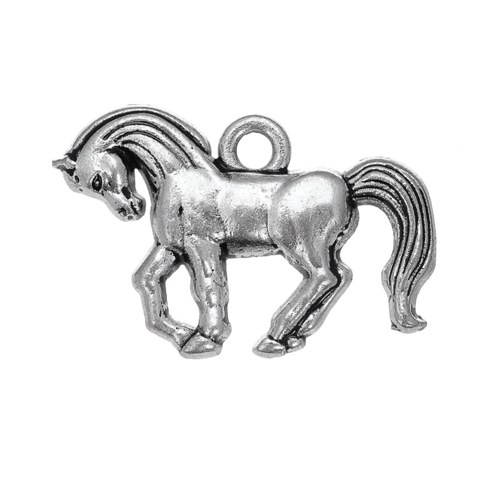 my shape 20pcs/lot Horse Toy Zinc Alloy Tibetan Silver Plated Charms Running Horse Riding Charms For Jewelry Making Wholesale