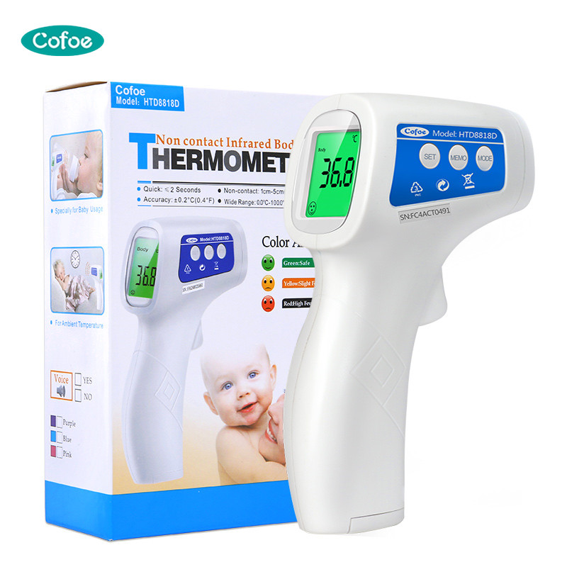 Cofoe Forehead Infrared Non-Contact LCD IR Fever Body Temperature Measurement Diagnostic-tool Device Baby Thermometer HTD8818D cofoe forehead infrared thermometer body temperature fever digital measure meter ir non contact portable tool for baby adult