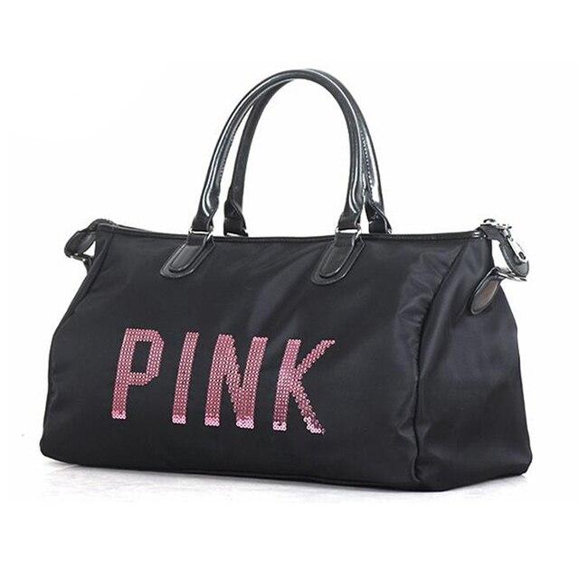 d9a4fb62a9a3 Newest Design Sequins PINK letters Gym Fitness Sports Bag Shoulder  Crossbody Bag Women Tote Handbag Travel