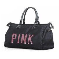 Promo Nuevo diseño lentejuelas Rosa letras gimnasio Fitness bolso deportivo hombro bandolera mujer bolso de mano Bolsa de viaje Y8APIN30