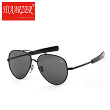 Classic Army MILITARY Male Sunglasses American Optical Glass Lens Alloy Frame Mens Luxury Brand Pilot 58mm Sun Glasses With Box