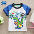 Puro frete grátis 2016 baby boy roupas crocodile imprimir algodão T-shirt gola redonda tutu camiseta manga curta roupas miúdo K1079