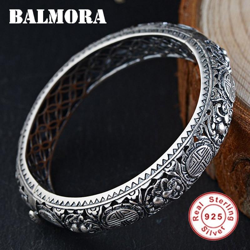 BALMORA 925 En Argent Sterling Bracelets pour Femmes Hommes Cadeau environ 17 cm Mode Ethnique Bijoux Accessoires Esposas SY50392