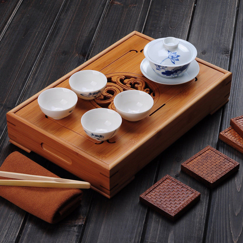China Dragon & Phoenix Bamboo Gong Fu Tea Ceremony Table 4